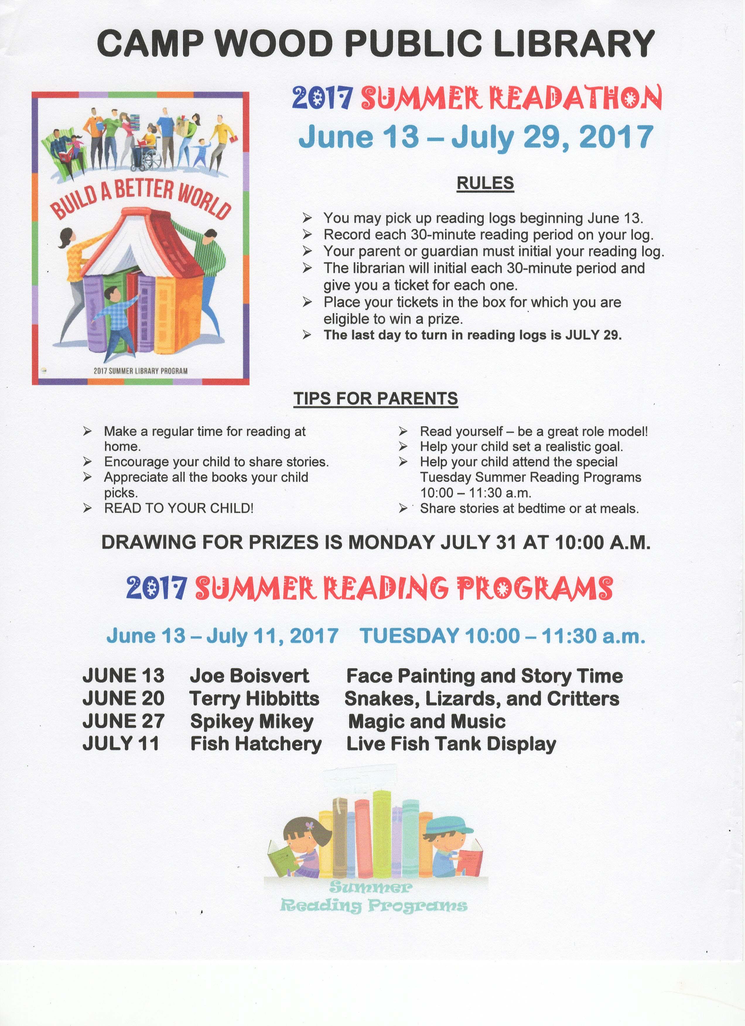2017 Summer Reading Program Events/Dates