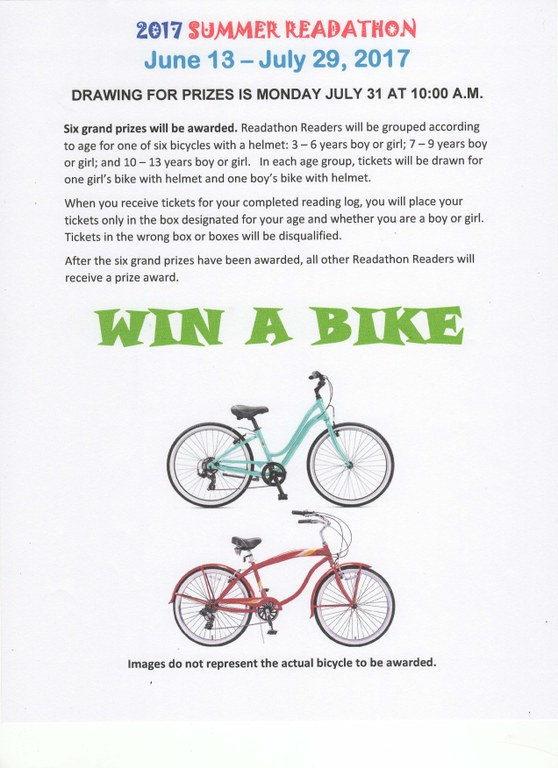 2017 Win A Bike Flyer Readathon